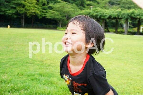 公園遊びをしている子供の写真