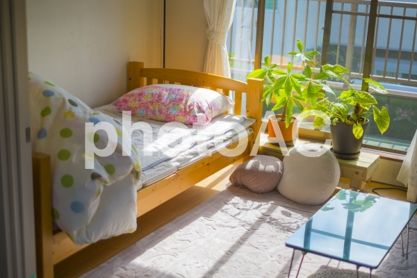女子一人暮らしの部屋晴れの日の写真