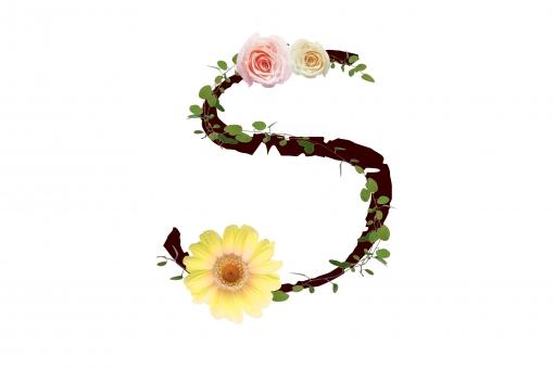 アルファベット ローマ字 英文字 文字 植物 花 グリーン 薔薇 バラ ガーベラ テクスチャ 素材