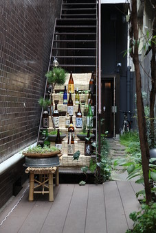 京都 古都 路地 裏道 通路 階段 店 飲み屋 酒 アルコール 瓶 ボトル 屋外 外 飲食店 盆栽 植物 植木 休憩 壁 煉瓦 置き石 すだれ 簾 松