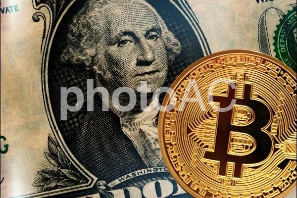 ビットコインとドル紙幣の写真