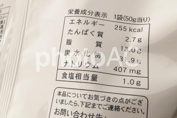 栄養成分表示の写真
