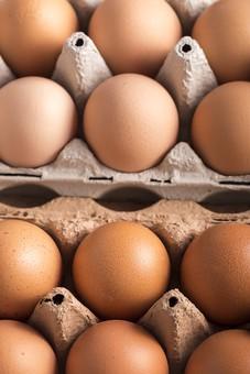 たまご 卵 玉子 タマゴ エッグ 楕円 卵色 ベージュ 料理 並べる 生き物 食べ物 食材 食料 置く 置いてある 物撮り 屋内 人物なし 上から 殻 斑点 12個 整然 複数 レシピ  容器 パック パック詰め 白とベージュ 対比 たくさん アップ ズーム 紙パック 鶏 にわとり ニワトリ