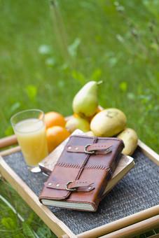 植物 自然 果物 果実 フルーツ ジュース 絞る 新鮮 料理 飲む 栄養 ビタミン 本 ブック 手帳 革張り 草 草原 葉 緑 重なる 飲み物 トレイ 盆 屋外 景観 風景 アップ 景色 ディスプレイ