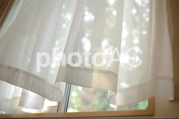 風に揺れるカーテンの写真