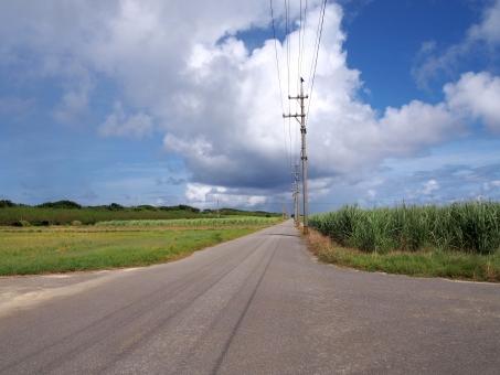 波照間島 波照間 道 道路 青空 夏 沖縄 八重山 離島 風景