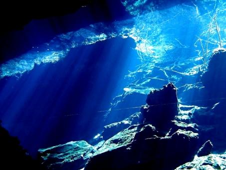 セノーテ 泉 自然 光 水中 ダイビング チャックモール 太陽 青 ブルー 淡水 植物 岩