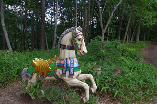 自然 風景 景色 長野県 伊那市 本州 信州 内陸 中部 中部地方 甲信越 甲信越地方 信濃 山 山中 木 樹木 森 森林 林 林地 植物  原生林 馬 回転木馬 古い 古びた アンティーク 木馬 置物 動物 白い 白馬