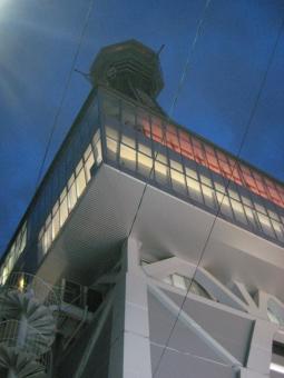 おおさか 大阪 浪速 なにわ なんば 難波 夜景 新世界 ネオン 工事中 led 電灯 木 オレンジ 青 濃紺 展望室 螺旋階段 らせん