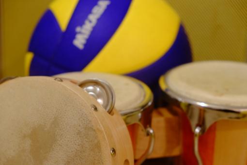 タンバリン ボンゴ バレーボール 打楽器 音楽 民族 民族楽器 演奏 スポーツ 球技 趣味