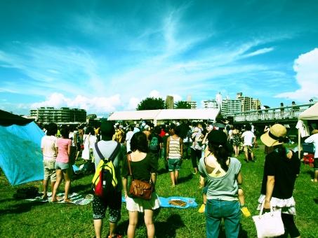 地元 音楽 フェスティバル フェス 青空 空 雲 ノリノリ 芝生 夏 夏休み 休日