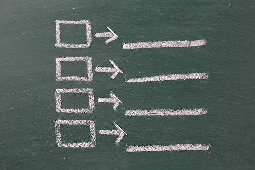 黒板 ブラックボード チョーク 緑 白 線 ライン 四角 長方形 囲い 枠 マス 直線 矢印 図 描写 書く 描く スケッチ 説明 図解 フローチャート 問題 学習 教育 教室 授業 レッスン 勉強 板書 デザイン イメージ