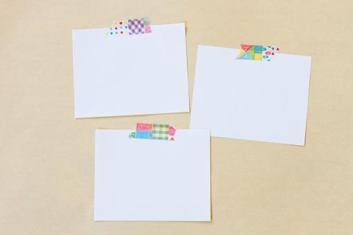 メモ用紙 素材 メモ帳 紙 白紙 コピースペース テキストスペース 背景 囲み 枠 フレーム ビジネス 伝言板 メッセージカード お知らせ 案内 看板 テープ シール 文具 文房具 ステーショナリー 小物 雑貨 可愛い かわいい 3枚
