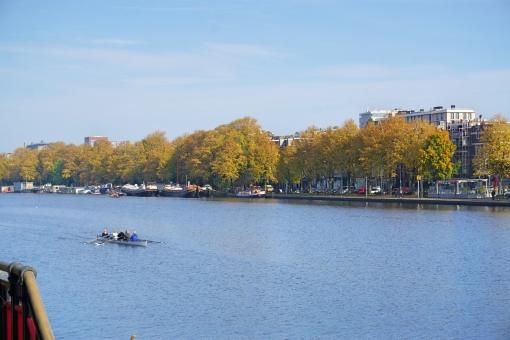 並木 黄葉 紅葉 黄色 川 秋 オランダ ヨーロッパ ボート 旅行 観光