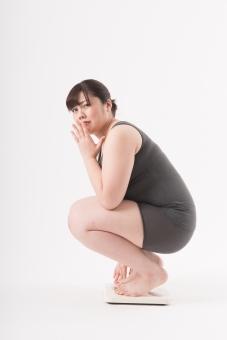 日本人 女性 ぽっちゃり 肥満 ダイエット 痩せる 痩せたい 目標 ビフォー アフター 太っている 太り気味 メタボ メタボリックシンドローム 脂肪 体系 ボディー 白バック 白背景 肉 体重計 体重計に乗る 計測 測る 計る 重さ 頭を抱える 現実 悩む 困る 太った 横向き 手で口を隠す 驚く ショック がーん mdjf020