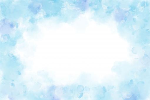 ブルーの水彩フレームの写真