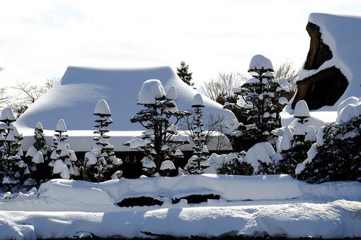 風景 日本 ジャパン 富士山 富士山麓 山梨県 南都留郡 忍野村 おしのむら 忍野八海 名水 湧水 天然記念物 名水百選  ハリモミ純林 観光 観光スポット 観光業 世界遺産構成資産  冬 冬季 雪 冠雪 積雪 空 日光 屋根 家屋
