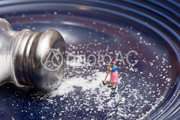 塩をブラシで掃除する女性のミニチュア1の写真