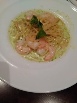 パスタ 海老 クリームパスタ pasta shurimp creampasta spagetti itarian 海老のクリームパスタ 美味しい 女子飯 カフエご飯 カフエ