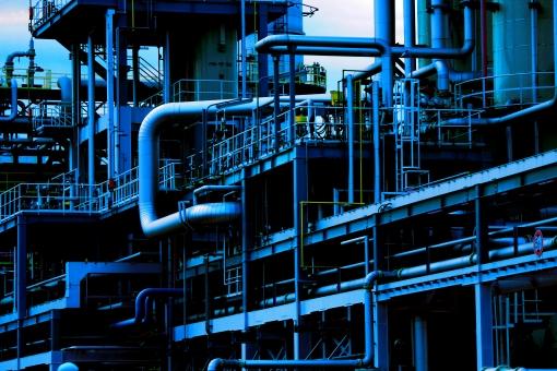 power plant 発電 電気 発電所 工場 鮮麗 洗礼 きれい クリア 火力 背景 色 色彩 美しい カラフル 青