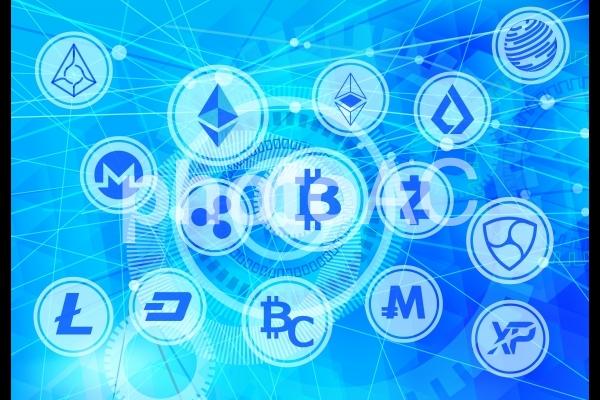 様々な仮想通貨とデジタル背景の写真
