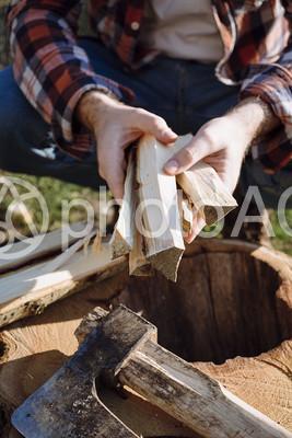 木こりの手元の写真