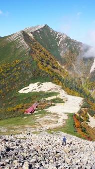 北アルプス 常念岳 秋 紅葉 山 ハイキング 登山 快晴 景色 趣味 9月 10月 長野 信州 晴れ 青 緑 山頂