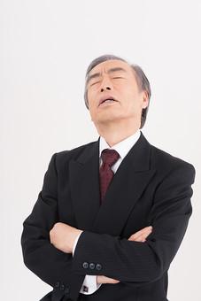 日本人 男性 男の人 人間 人物 大物 大御所 50代 60代 スーツ ネクタイ ビジネスマン 会社 社会人 社員 職員 社長 会長 重役 政治家 議員 白背景 白バック バストアップ 腕組み 居眠り 国会 議会 会議 政治 mdjms004