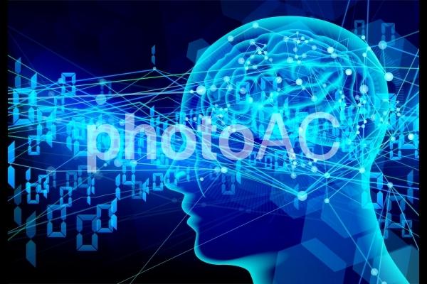 人工知能ビジネス青い光の背景の写真