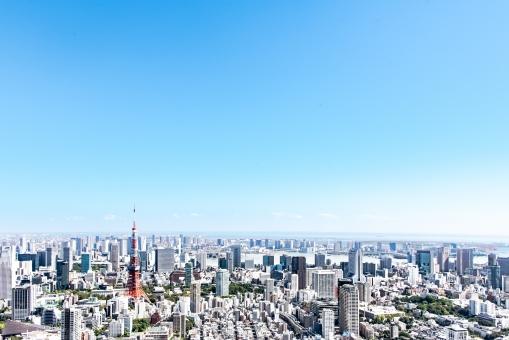 青空と東京風景の写真