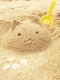 砂浜 砂遊び 猫 かわいい ねこ 砂 砂場 海 夏