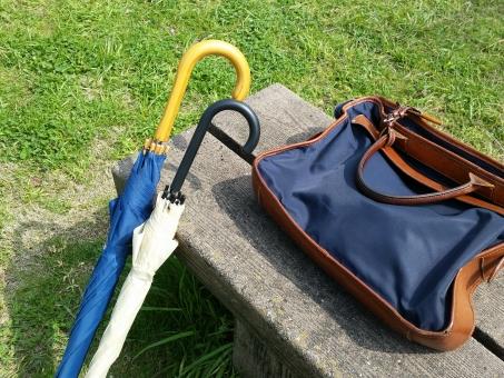 カサ 傘 かさ バッグ カバン デート 公園 ラブラブ カップル 緑 グリーン 青 ブルー 日本 庭 ベンチ