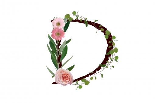 アルファベット ローマ字 英文字 植物 花 ガーベラ バラ 薔薇 文字 テクスチャ 素材 グリーン