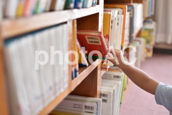 図書館の本を探す子供の写真