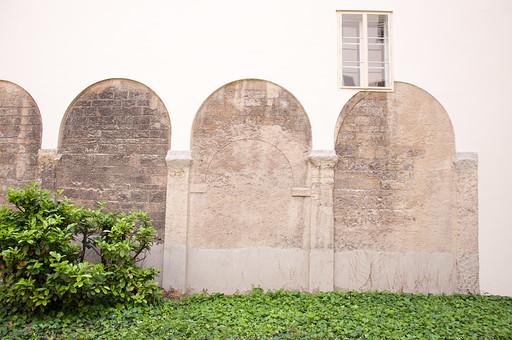 外国の窓と壁 窓 壁 外国 海外 チェコ ヨーロッパ 東欧 中欧 ガラス 透ける 綺麗 模様 外国風景 風景 素材 白壁 四角 ナチュラル アイビー 半円 蔦 つた 植物 ペンキ 外壁