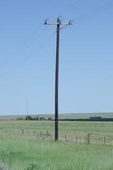 青空 空 お空 大空 晴天 晴れ 快晴 青色 青い 青天井 蒼穹 蒼天  爽やか 爽快 さっぱりした 健康的 電柱 電信柱 電気 電線 送電 送電線 ブルースカイ 伝送線 ケーブル 緑 グリーン 地平線 空際 視地平線 スカイライン
