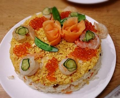 寿司ケーキ 寿司 すし おすし イクラ いくら ひな祭り お祝い デコレーション サーモン さ