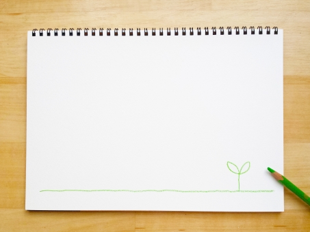 スケッチブック 色鉛筆 新芽 イラスト ノート いろえんぴつ エンピツ sketchbook コピースペース 若葉 双葉 芽 バックグラウンド フレーム 秋 note メモ帳 めも もみじ モミジ 水彩画 枠 デッサン 美術部 バインダー 紙 かみ 緑 みどり イロエンピツ グリーン テーブル 机 つくえ